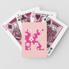 Monogram initial K pink floral, flowers hibiscus Bicycle Playing Cards