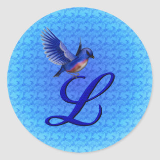 Monogram Initial L Elegant Bluebird Sticker