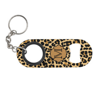 Monogram Initial Leopard Print Bottle Opener