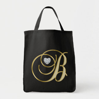 Monogram Initial Letter B Gold Black Heart Diamond Tote Bag