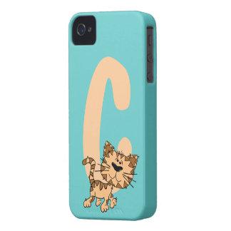 Monogram initial letter C, cute cat cartoon custom Case-Mate iPhone 4 Cases