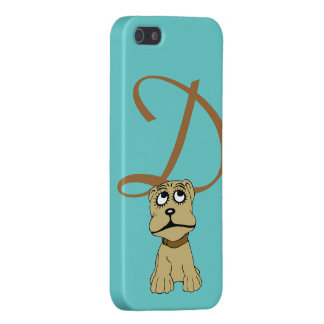 Monogram initial letter D, cute dog cartoon custom iPhone 5 Covers