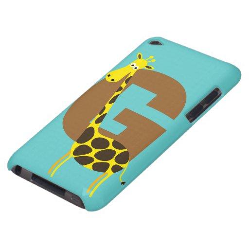 Monogram initial letter G giraffe cartoon custom Barely There iPod Cases