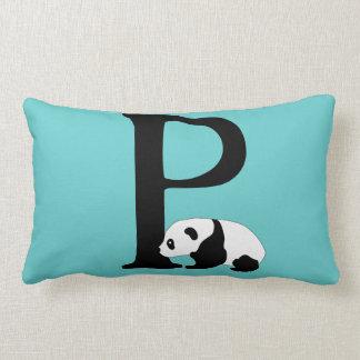 Monogram initial letter P, cute panda bear custom Lumbar Cushion
