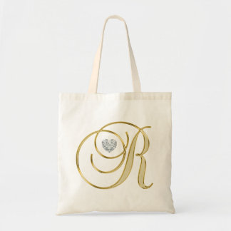 Monogram Initial Letter R Gold Heart Diamond Tote Bag