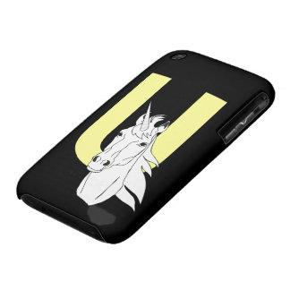 Monogram initial letter U beautiful unicorn custom Case-Mate iPhone 3 Cases