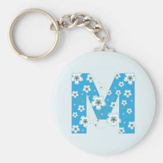 Monogram initial M pretty blue floral keychain