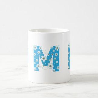 Monogram initial M pretty blue flowers mug