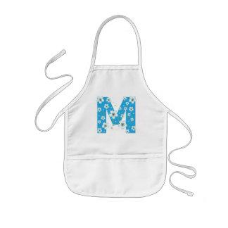 Monogram initial M pretty floral kids, girls apron