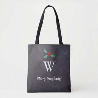 Monogram initial • Merry Christmas • handlettering Tote Bag