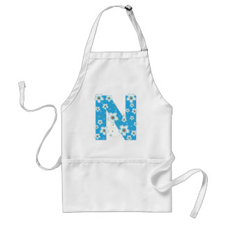 Monogram initial N pretty floral flowers apron