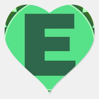Monogram Initial name green letter alphabet e Heart Sticker