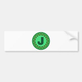 Monogram Initial name green letter alphabet j Bumper Sticker