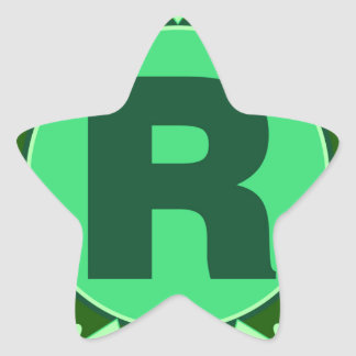 Monogram Initial name green letter alphabet r Star Sticker