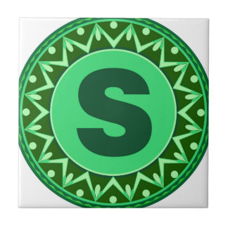 Monogram Initial name green letter alphabet s Ceramic Tile
