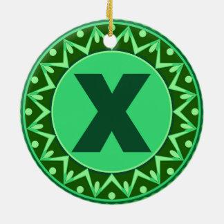 Monogram Initial name green letter alphabet x Round Ceramic Decoration