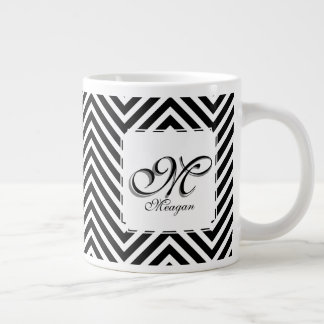 Monogram Initial & Name on Black & White Zigzags Large Coffee Mug