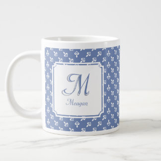 Monogram Initial & Name on Blue & White Hearts #3 Large Coffee Mug