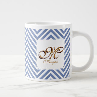 Monogram Initial & Name on Blue & White Zigzags Large Coffee Mug