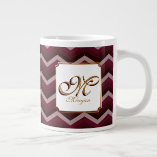 Monogram Initial & Name on Mauve Zigzags Large Coffee Mug