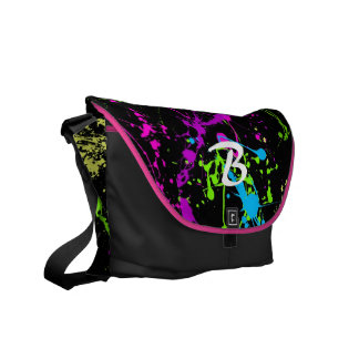 Monogram Initial neon splatter colorful custom bag Commuter Bag