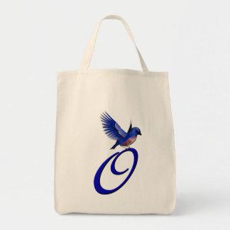 Monogram Initial O Bluebird Tote Bag