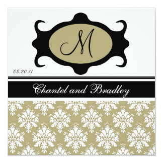 Monogram Initial Olive/Black Wedding Invitation