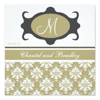 Monogram Initial Olive/Charcoal Wedding Invitation