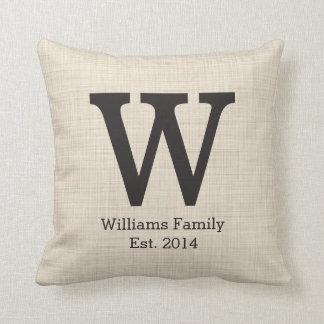 Monogram Initial on Faux Linen Throw Cushions