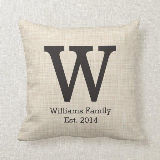 Monogram Initial on Faux Linen Pillow