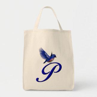 Monogram Initial P Bluebird Tote Bag