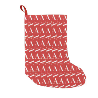 Monogram Initial Pattern, Letter A in White on Red Small Christmas Stocking