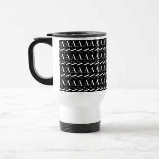 Monogram Initial Pattern, Letter A in White Travel Mug