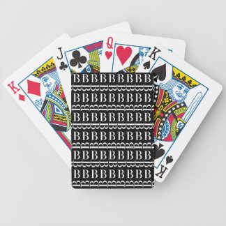 Monogram Initial Pattern, Letter B in White Bicycle Playing Cards