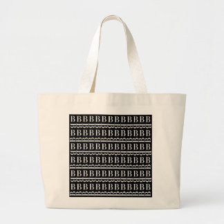 Monogram Initial Pattern, Letter B in White Large Tote Bag