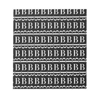 Monogram Initial Pattern, Letter B in White Notepad