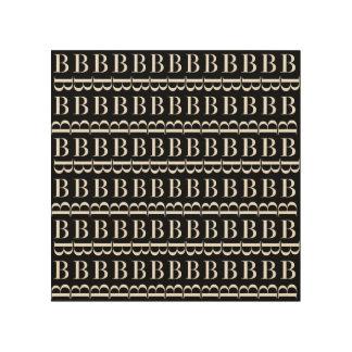 Monogram Initial Pattern, Letter B in White Wood Print