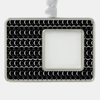 Monogram Initial Pattern, Letter C in White Silver Plated Framed Ornament