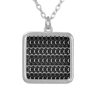 Monogram Initial Pattern, Letter C in White Silver Plated Necklace