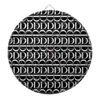 Monogram Initial Pattern, Letter D in White Dartboard