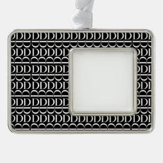 Monogram Initial Pattern, Letter D in White Silver Plated Framed Ornament