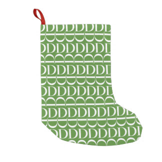 Monogram Initial Pattern, Letter D, White on Green Small Christmas Stocking