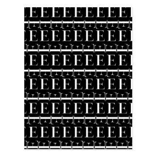 Monogram Initial Pattern, Letter E in White Postcard