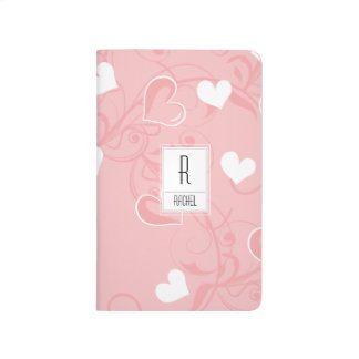 Monogram Initial Personalized Pink Hearts Journal