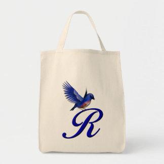 Monogram Initial R Bluebird Tote Bag