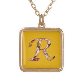Monogram Initial R Floral Design Necklace