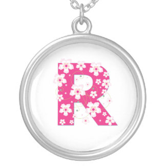 Monogram initial R pretty pink floral necklace