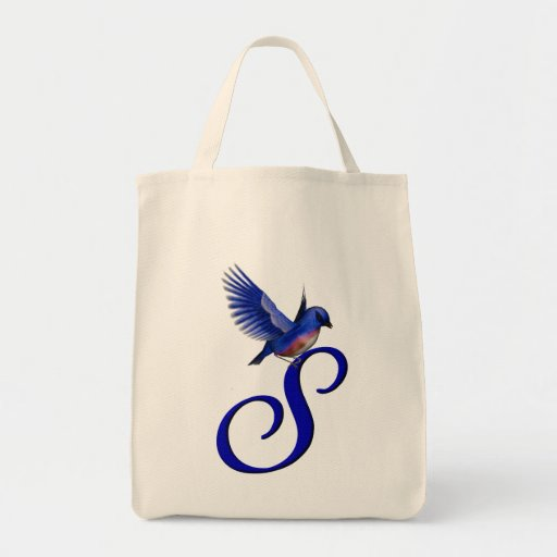 Monogram Initial S Bluebird Tote Bag