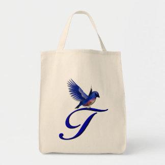 Monogram Initial T Bluebird Tote Bag