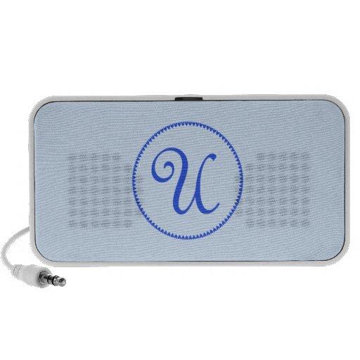 Monogram initial U blue hearts doodle speakers